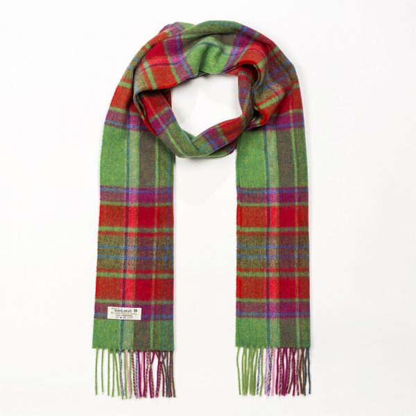 Irish Wool Scarf Long Red Green Check
