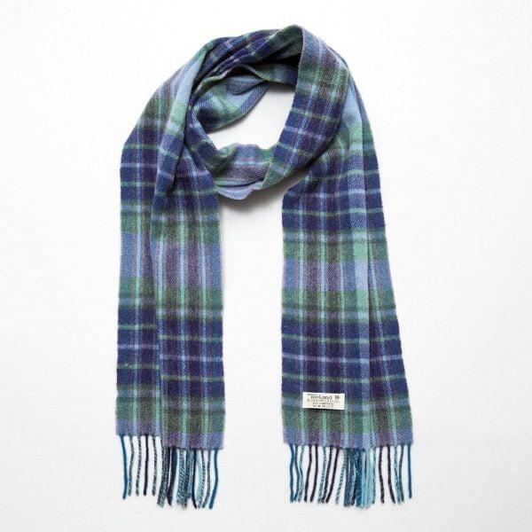 Irish Wool Scarf Long Aqua Navy Fancy Check