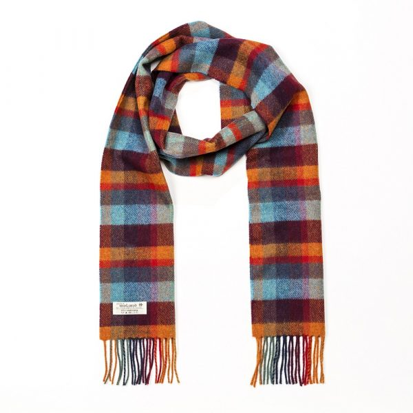 Irish Wool Scarf Long Orange Teal and Denim Blue Small Block Check