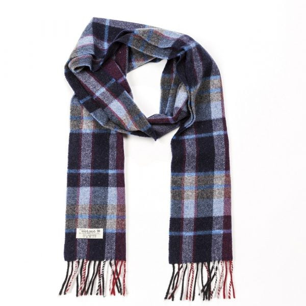 Irish Wool Scarf Long Navy Grey Red Check