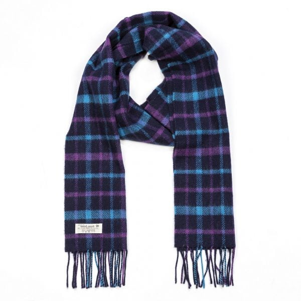 Irish Wool Scarf Long Navy Turquoise Purple Check