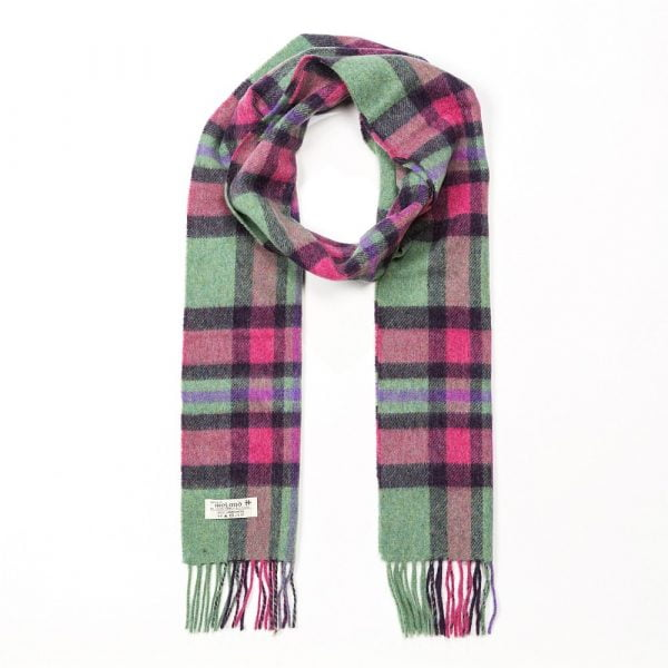 Irish Wool Scarf Long Mint Green Pink Check