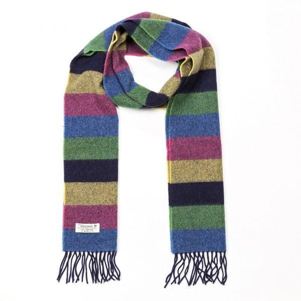 Irish Wool Scarf Long Multi Coloured Horizontal Stripe