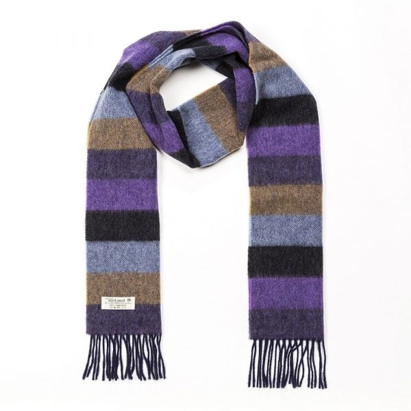 Irish Wool Scarf Long Purple Charcoal Blue Tan Stripe