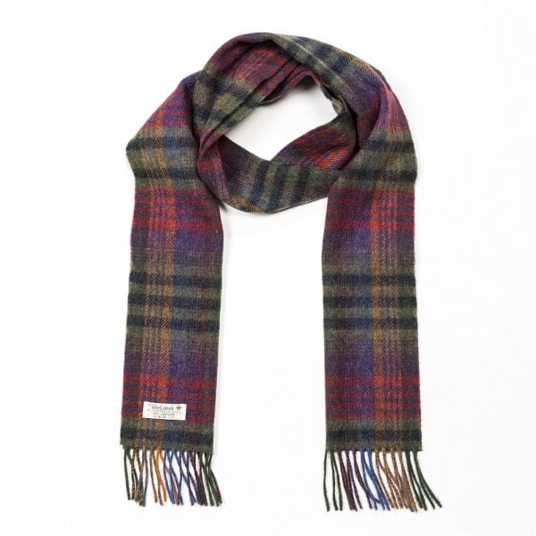 Irish Wool Scarf Long Green, Mustard and Purple Check