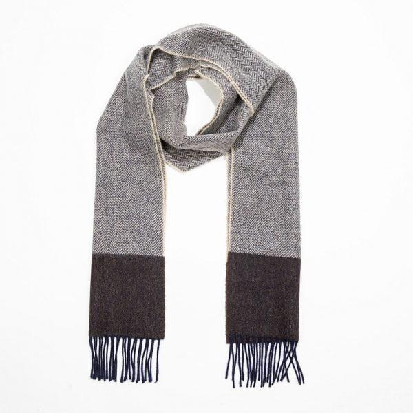 Irish Wool Scarf Long Camel Brown Navy Herringbone