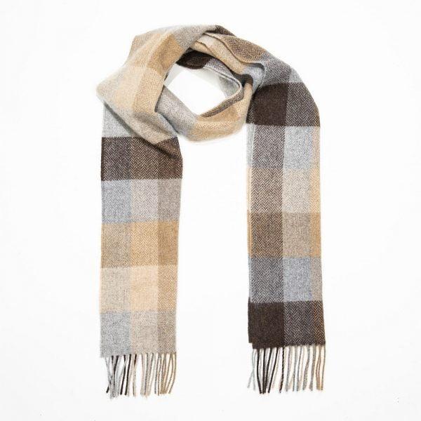 Irish Wool Scarf Long Beige Brown Grey Herringbone