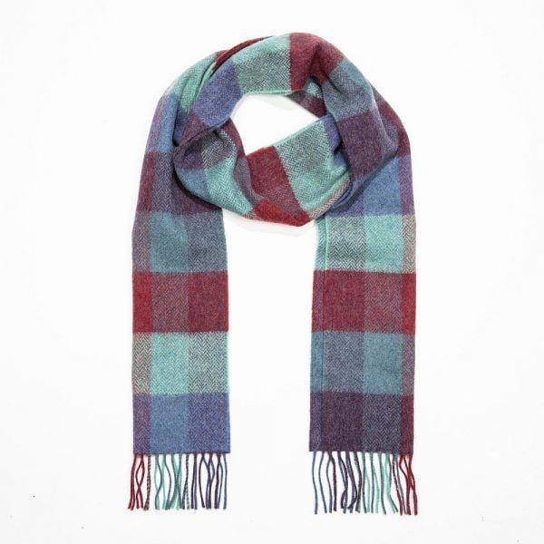 Irish Wool Scarf Long Denim Green Purple Herringbone Block