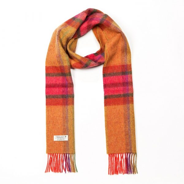 Irish Wool Scarf Long Bright Orange Pink and Purple Mix
