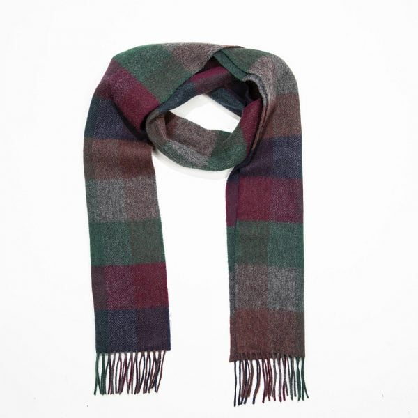 Irish Wool Scarf  Long Navy Burgundy Green Herringbone Block