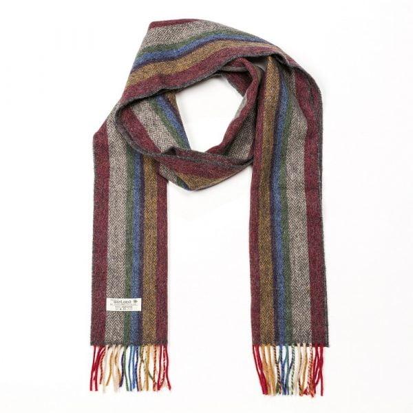 Irish Wool Scarf Long Beige Red Mustard Stripe