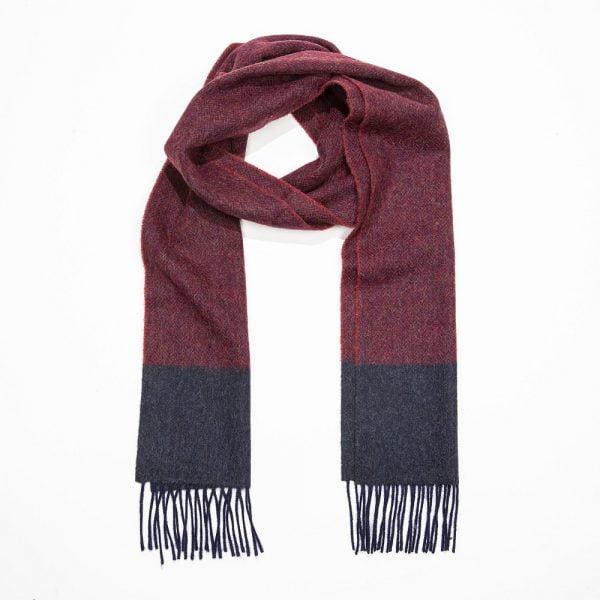 Irish Wool Scarf Long Burgundy Navy Herringbone