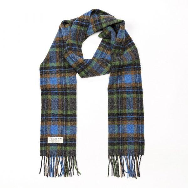Irish Wool Scarf Long Green, Blue and Burnt Orange Check
