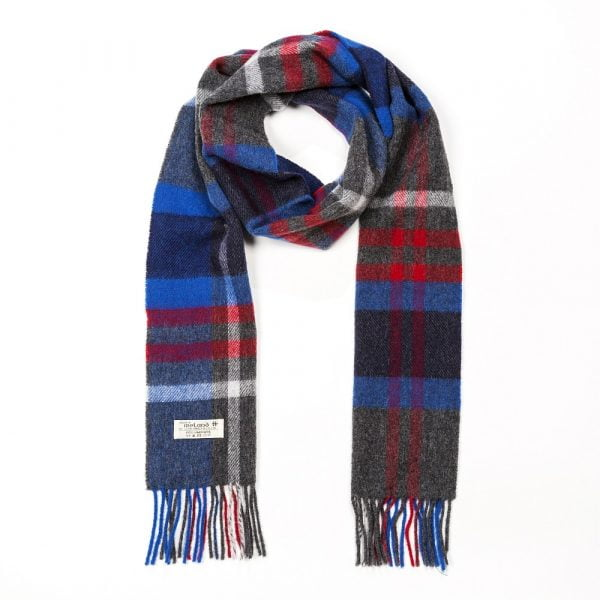 Irish Wool Scarf Long Charcoal Blue Red Check