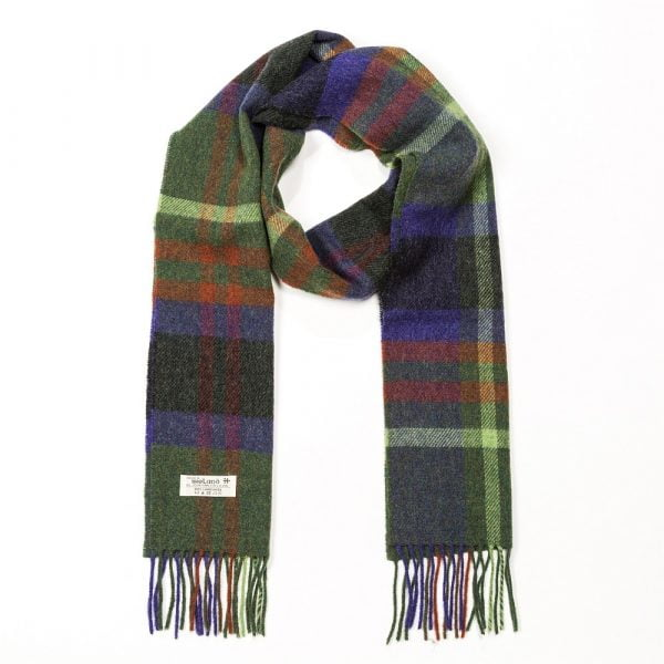 Irish Wool Scarf Long Charcoal Green Indigo Check