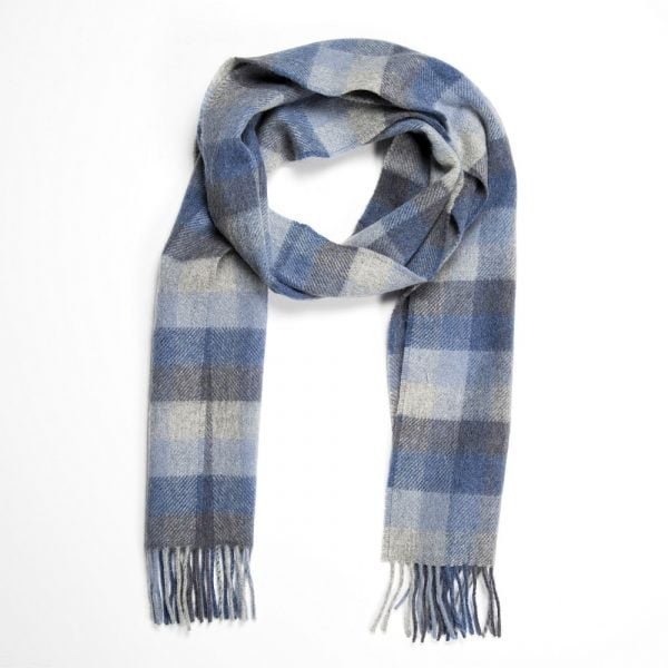 Irish Wool Scarf Long Blue Grey Block Check