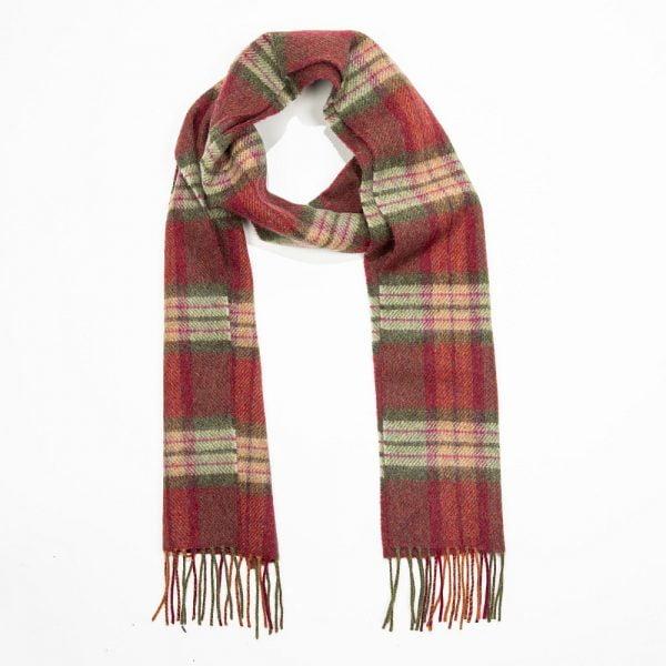 Irish Wool Scarf Long Burgundy Green Pink Check