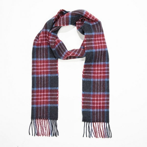 Irish Wool Scarf Long Burgundy Denim Navy Plaid