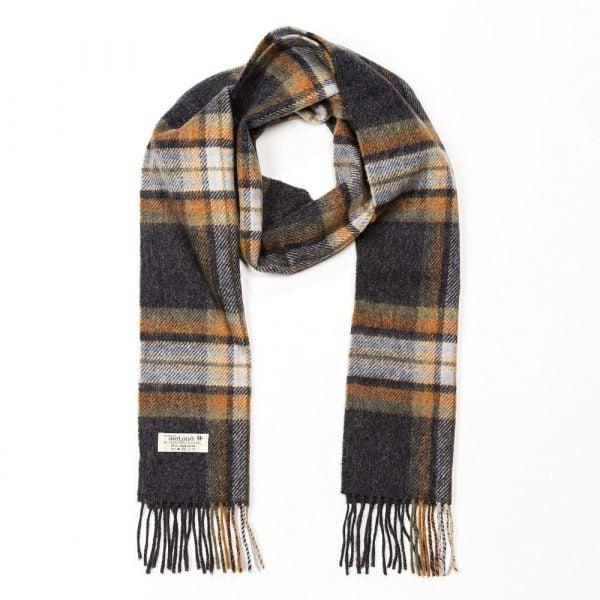 Irish Wool Scarf Long Charcoal Beige Rust Plaid