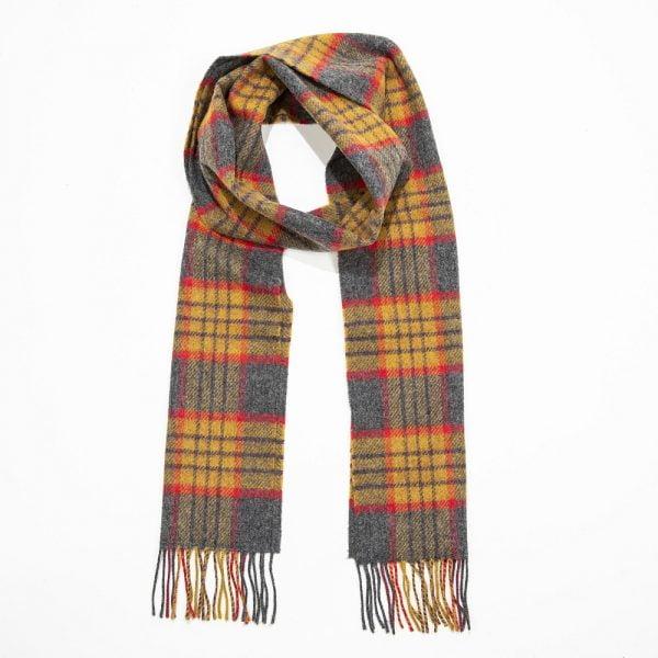 Irish Wool Scarf Long Yellow Red Grey Check