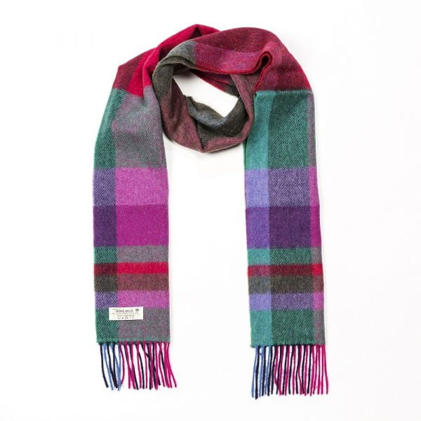 Irish Wool Scarf Long Bright Pink and Purple Check
