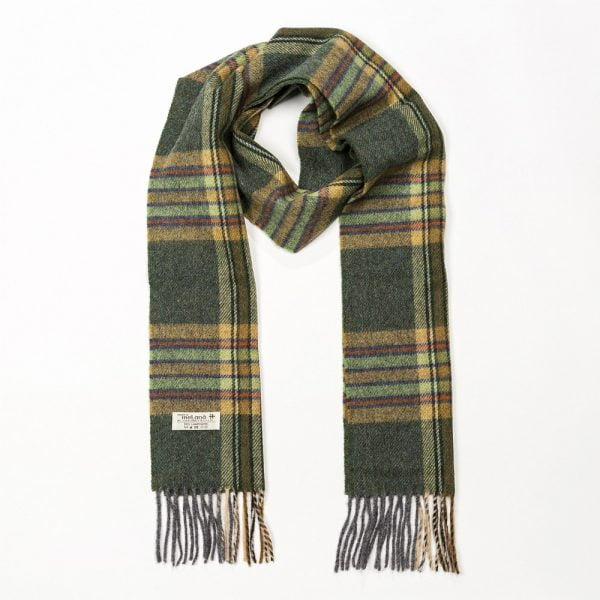 Irish Wool Scarf Long Dark Green Mint Mustard Check