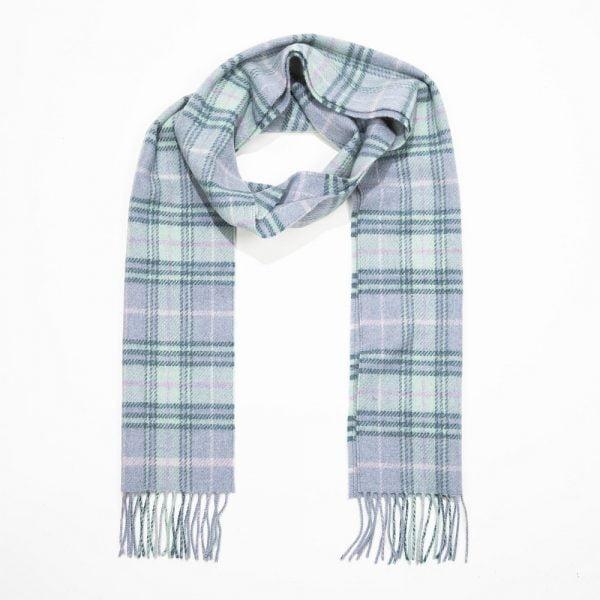 Irish Wool Scarf Long Blue Mint Green Check