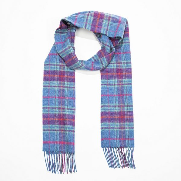 Irish Wool Scarf Denim Purple Orange Plaid