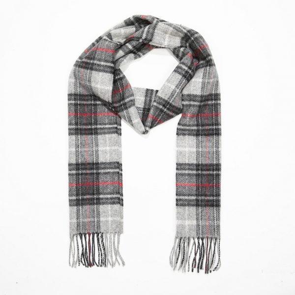 Irish Wool Scarf  Long Black Grey Red Check