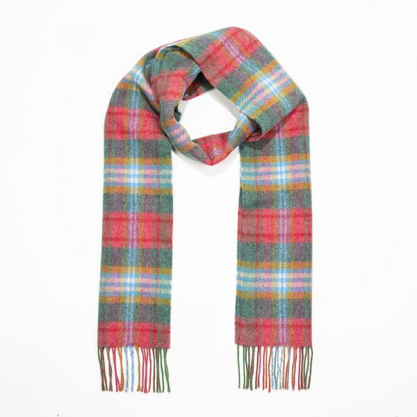 Irish Wool Scarf Long Pink Green Blue Plaid