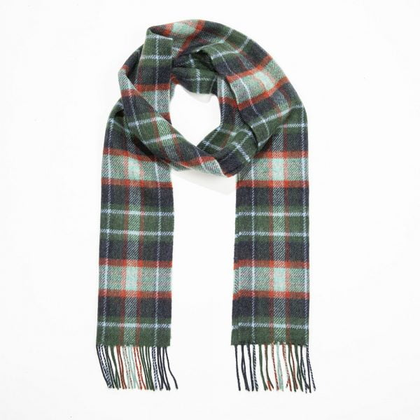 Irish Wool Scarf Green Mint Navy Check