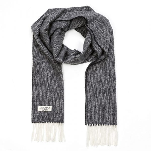 Irish Wool Scarf Long Plain Charcoal Herringbone