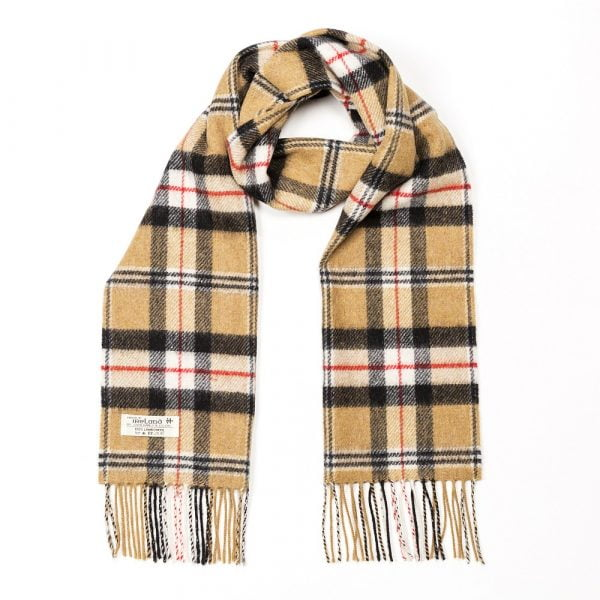 Irish Wool Scarf Short Carmel of Merrick Tartan