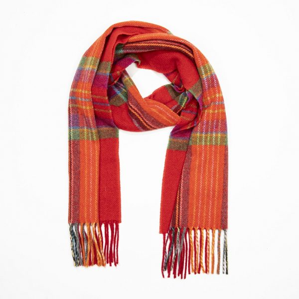 Irish Wool Scarf Short  Red Orange Plaid