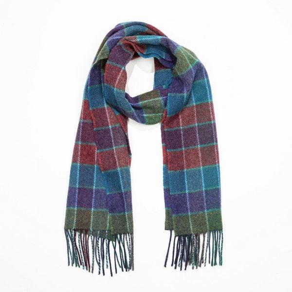 Irish Wool Scarf Short Teal Red Purple Check