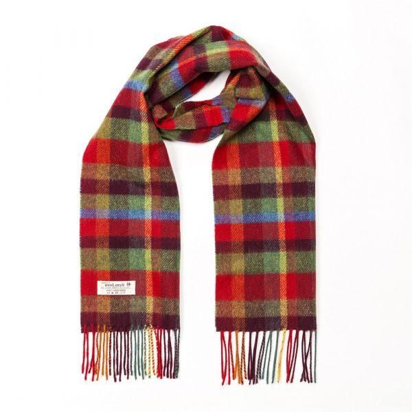 Irish Wool Scarf Short Red Green Yellow Check