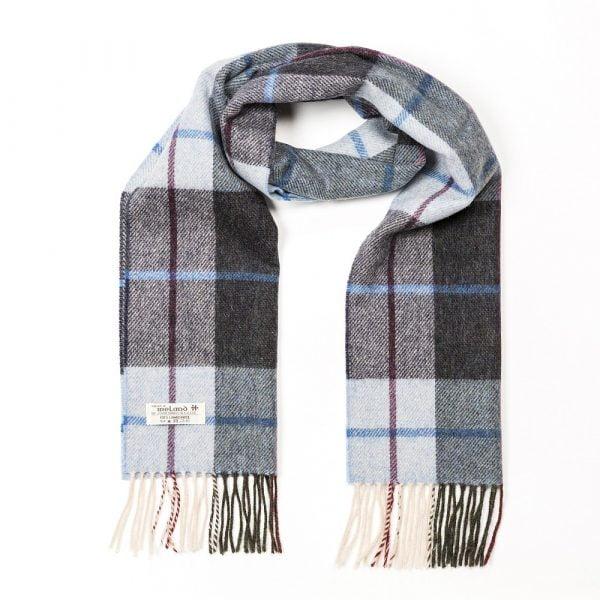 Irish Wool Scarf Short Light Blue Charcoal Check