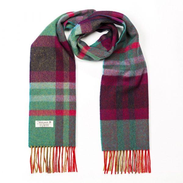Irish Wool Scarf Short Green Maron Check