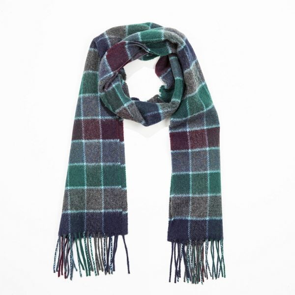 Irish Wool Scarf Short Green Navy Burgundy Check