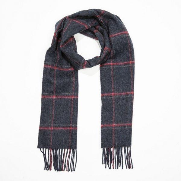 Irish Wool Scarf Short Grey Red Pink Check