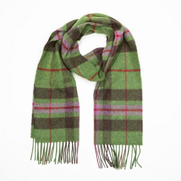 Irish Wool Scarf Short Green Brwon Pink Check