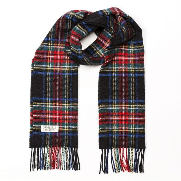 Irish Wool Scarf Short Black Stewart Tartan