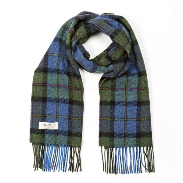 Irish Wool Scarf Short Denim Green Tartan
