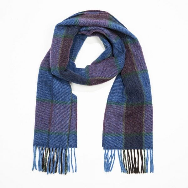 Irish Wool Scarf Short Blue Navy Heather Check