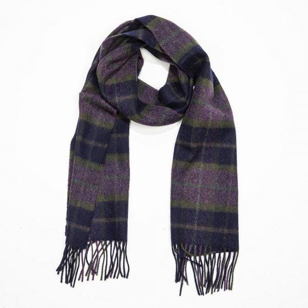 Irish Wool Scarf Short Purple Green Navy Check