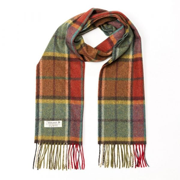 Irish Wool Scarf Short Autumnal Mix Check