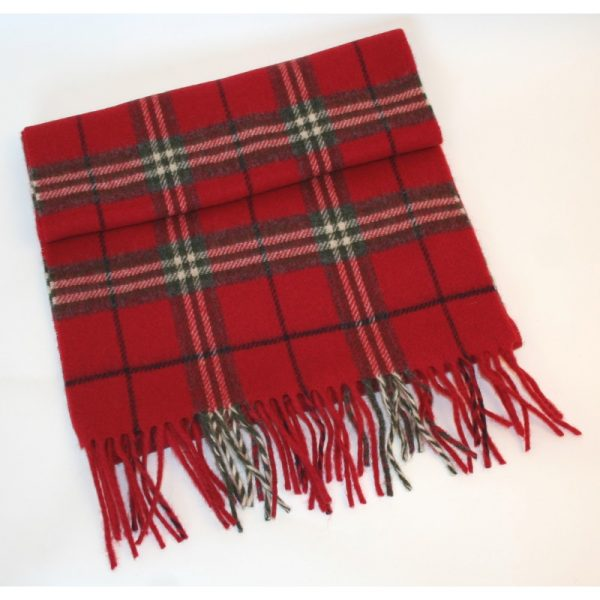 Irish Wool  Scarf  Short Red Plaid