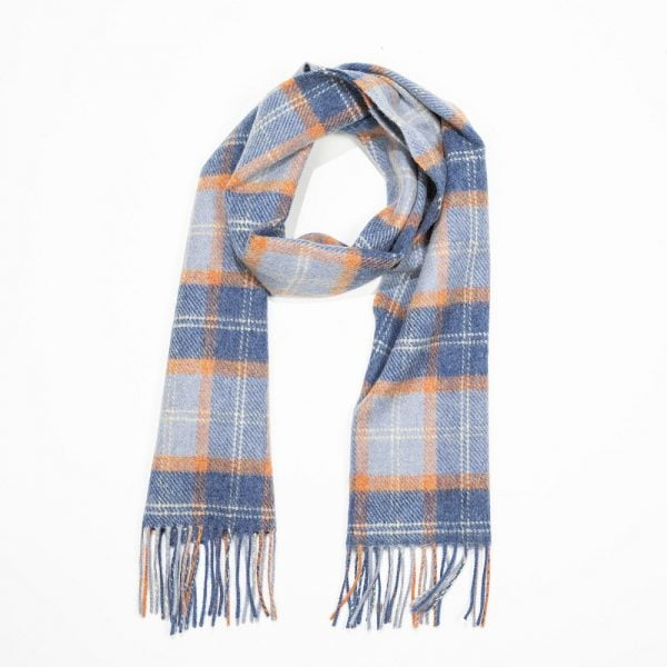 Irish Wool Scarf Short. Blue Orange Cream Check