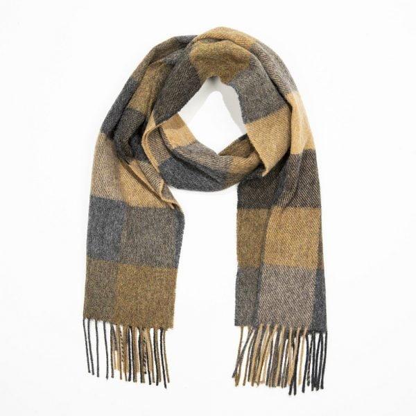 Irish Wool Scarf Short Grey Beige Black Check