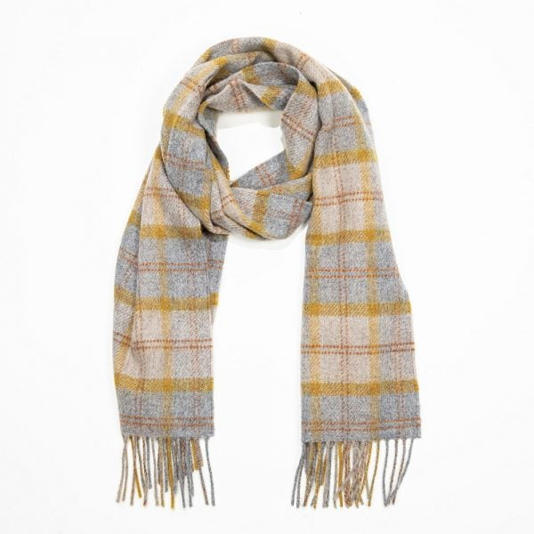Irish Wool Scarf Short Grey, Mustard, Orange, Check